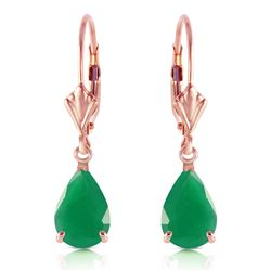 Genuine 2 ctw Emerald Earrings Jewelry 14KT Rose Gold - REF-43M9T
