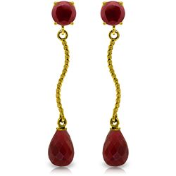 Genuine 7.9 ctw Ruby Earrings Jewelry 14KT Yellow Gold - REF-28P9H