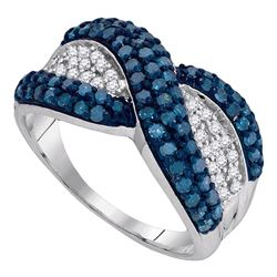 1 CTW Blue Color Diamond Crossover Ring 10KT White Gold - REF-41X9Y