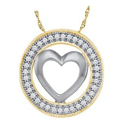 0.10 CTW Diamond Encircled Heart Pendant 10KT Yellow Gold - REF-11W2K