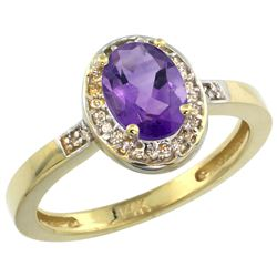 Natural 1.08 ctw Amethyst & Diamond Engagement Ring 14K Yellow Gold - REF-31M3H