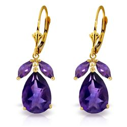 Genuine 13 ctw Amethyst Earrings Jewelry 14KT Yellow Gold - REF-61W2Y