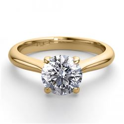 18K Yellow Gold 1.13 ctw Natural Diamond Solitaire Ring - REF-343Y6X-WJ13268