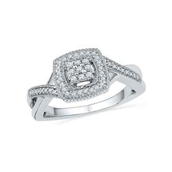 0.20 CTW Diamond Square Cluster Ring 10KT White Gold - REF-30Y2X