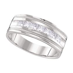 0.99 CTW Mens Diamond Single Row Milgrain Wedding Ring 10KT White Gold - REF-142H4M