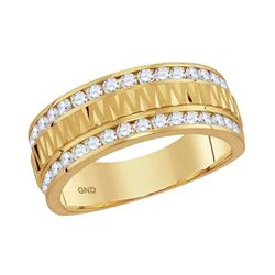 1 CTW Mens Channel-set Diamond Grecco Textured Double Row Ring 14KT Yellow Gold - REF-132M2H