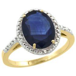 Natural 2.42 ctw Blue-sapphire & Diamond Engagement Ring 10K Yellow Gold - REF-85M8H