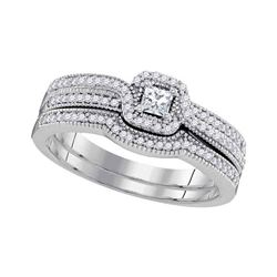 0.33 CTW Diamond Princess Bridal Engagement Ring 10KT White Gold - REF-43W4K