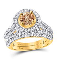 2.05 CTW Cognac-brown Color Diamond Halo Bridal Ring 14KT Yellow Gold - REF-179X9Y