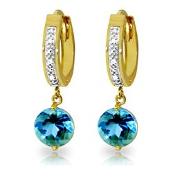 Genuine 3.28 ctw Blue Topaz & Diamond Earrings Jewelry 14KT Yellow Gold - REF-55N3R