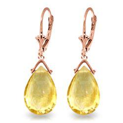 Genuine 10.20 ctw Citrine Earrings Jewelry 14KT Rose Gold - REF-28M9T
