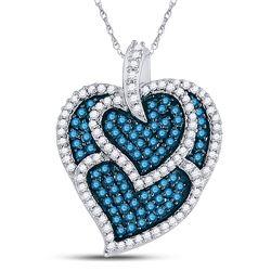 1.05 CTW Blue Color Diamond Tripled Heart Outline Pendant 10KT White Gold - REF-37Y5X