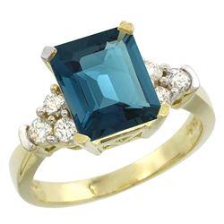 Natural 2.86 ctw london-blue-topaz & Diamond Engagement Ring 14K Yellow Gold - REF-66V2F