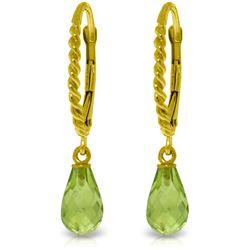 Genuine 3 ctw Peridot Earrings Jewelry 14KT Yellow Gold - REF-24M3T
