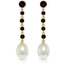 Genuine 10 ctw Garnet & Pearl Earrings Jewelry 14KT Yellow Gold - REF-32A4K
