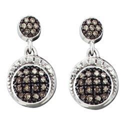 0.25 CTW Diamond Dangle Screwback Earrings 10KT White Gold - REF-18H2M