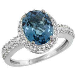 Natural 2.56 ctw London-blue-topaz & Diamond Engagement Ring 14K White Gold - REF-42H8W