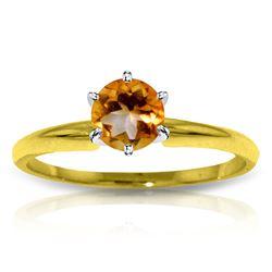 Genuine 0.65 ctw Citrine Ring Jewelry 14KT Yellow Gold - REF-26V9W