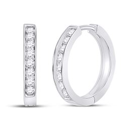 0.50 CTW Diamond Hoop Earrings 10KT White Gold - REF-49W5K