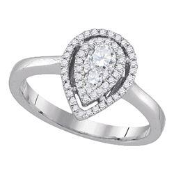 0.39 CTW Diamond Teardrop Cluster Ring 14KT White Gold - REF-67K4W