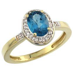 Natural 1.08 ctw London-blue-topaz & Diamond Engagement Ring 10K Yellow Gold - REF-25K6R
