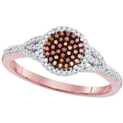 0.25 CTW Red Color Diamond Circle Cluster Ring 10KT Rose Gold - REF-26K9W
