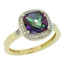 Natural 3.94 ctw Mystic-topaz & Diamond Engagement Ring 14K Yellow Gold - REF-38V3F