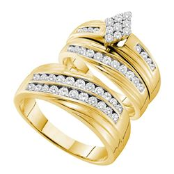 1.19 CTW His & Hers Diamond Cluster Matching Bridal Ring 14KT Yellow Gold - REF-134F9N