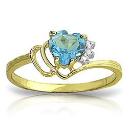 Genuine 0.97 ctw Blue Topaz & Diamond Ring Jewelry 14KT Yellow Gold - REF-29R7P