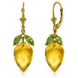 Genuine 20 ctw Citrine & Peridot Earrings Jewelry 14KT Yellow Gold - REF-51X8M