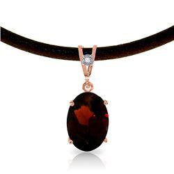 Genuine 7.56 ctw Garnet & Diamond Necklace Jewelry 14KT Rose Gold - REF-53K8V