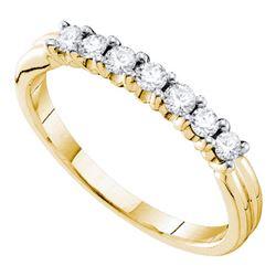 0.33 CTW Pave-set Diamond Single Row Wedding Ring 14KT Yellow Gold - REF-33F8N