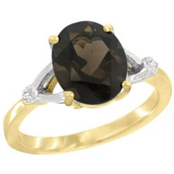 Natural 2.41 ctw Smoky-topaz & Diamond Engagement Ring 14K Yellow Gold - REF-33F8N