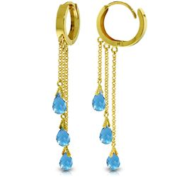 Genuine 4.8 ctw Blue Topaz Earrings Jewelry 14KT Yellow Gold - REF-64A4K
