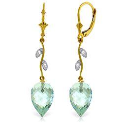 Genuine 22.52 ctw Blue Topaz & Diamond Earrings Jewelry 14KT Yellow Gold - REF-68P2H