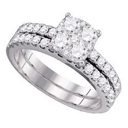 1.44 CTW Diamond Bridal Wedding Engagement Ring 18KT White Gold - REF-285N2F