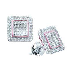 0.31 CTW Diamond Cluster Square Rose-tone Stud Earrings 10KT White Gold - REF-26W9K