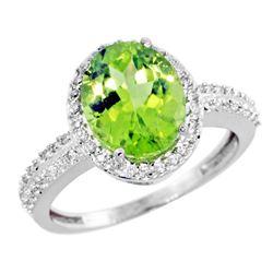 Natural 2.56 ctw Peridot & Diamond Engagement Ring 14K White Gold - REF-46R6Z