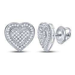 0.25 CTW Diamond Heart Screwback Earrings 10KT White Gold - REF-26K9W