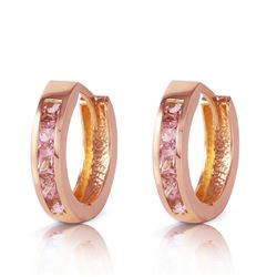 Genuine 1.30 ctw Sapphire Earrings Jewelry 14KT Rose Gold - REF-42P6H