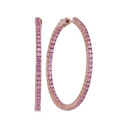3.75 CTW Pink Sapphire In/Out Hoop Earrings 14KT Rose Gold - REF-127H4M
