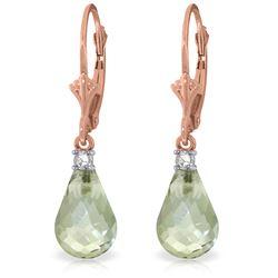 Genuine 4.6 ctw Green Amethyst & Diamond Earrings Jewelry 14KT Rose Gold - REF-30W2Y