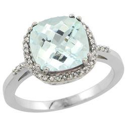 Natural 3.11 ctw Aquamarine & Diamond Engagement Ring 14K White Gold - REF-61F3N