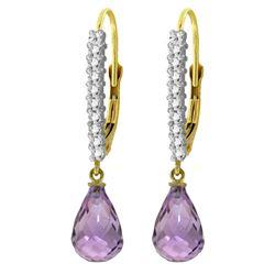 Genuine 4.8 ctw Amethyst & Diamond Earrings Jewelry 14KT Yellow Gold - REF-53V2W