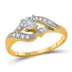 0.16 CTW Diamond Solitaire Bridal Engagement Ring 10KT Yellow Gold - REF-19F4N