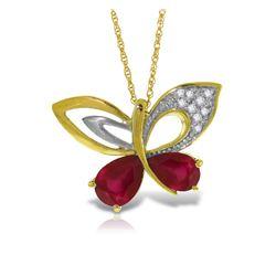 Genuine 4.38 ctw Ruby & Diamond Necklace Jewelry 14KT Yellow Gold - REF-132H2X