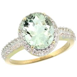 Natural 2.56 ctw Green-amethyst & Diamond Engagement Ring 14K Yellow Gold - REF-42X2A