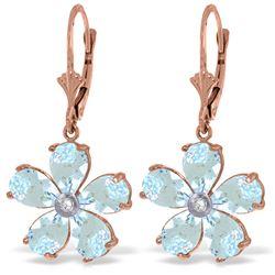 Genuine 4.43 ctw Aquamarine & Diamond Earrings Jewelry 14KT Rose Gold - REF-62Y6F