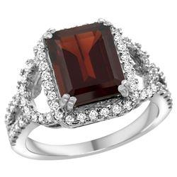 Natural 3.08 ctw garnet & Diamond Engagement Ring 14K White Gold - REF-109N6G