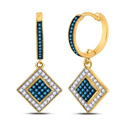 0.50 CTW Blue Color Diamond Square Dangle Earrings 10KT Yellow Gold - REF-30N2F